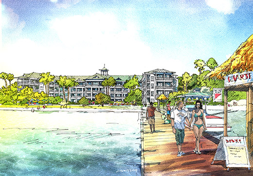 Architect's rendering of Grand Baymen Oceanside, as seen from the existing pier