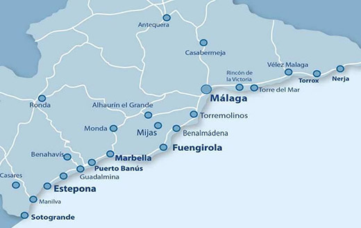 Costa del Sol hosts 70 golf courses between Málaga and Sotogrande Map courtesy of CostaNatura.com.