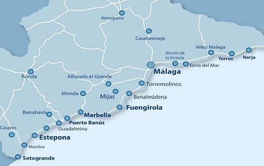 Costa del Sol hosts 70 golf courses between Málaga and Sotogrande Map courtesy of CostaNatura.com.
