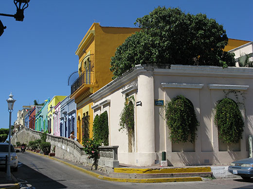 This row of restored homes extends right to the sea in Mazatlán's historic center