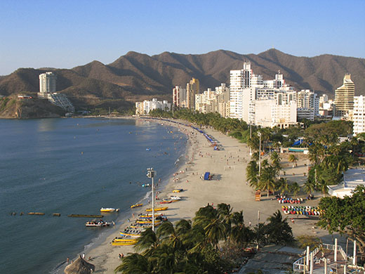 Santa Marta offers miles of beaches; here's a view of El Rodadero