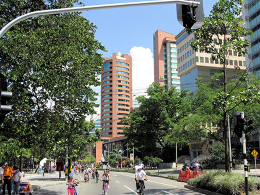 Sunday on the avenue brings everyone out in Medellín