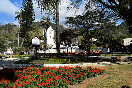 The colorful town square is the social center of Domingos Martins