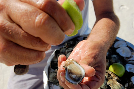 Beach vendors offer fresh oysters right from the sea