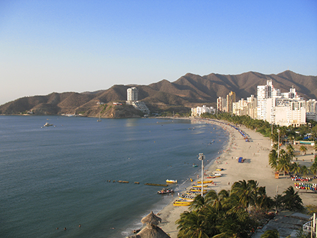 Santa Marta's long beach at El Rodadero
