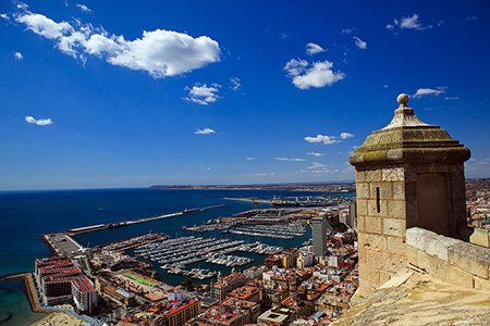 The downtown and harbor of Alicante from Santa Barbara Castle