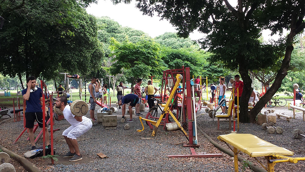 The free outdoor gym in Cali's El Ingenio Park
