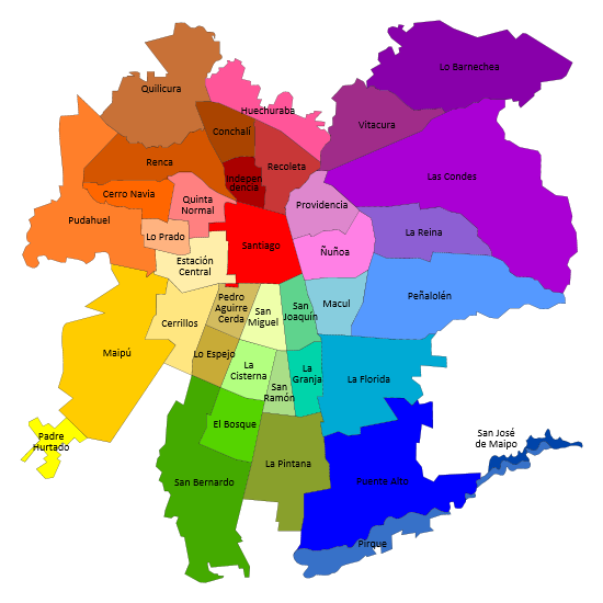 Santiago is divided into 37 sectors called comunas