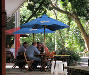 Expats enjoy morning coffee in the Catay area of Medellin's El Poblado<br /><br /><br /><br /><br /> Chart © 2014 by Prof. Werner Antweiler, University of British Colombia, courtesy of Pacific Exchange Rate Service.