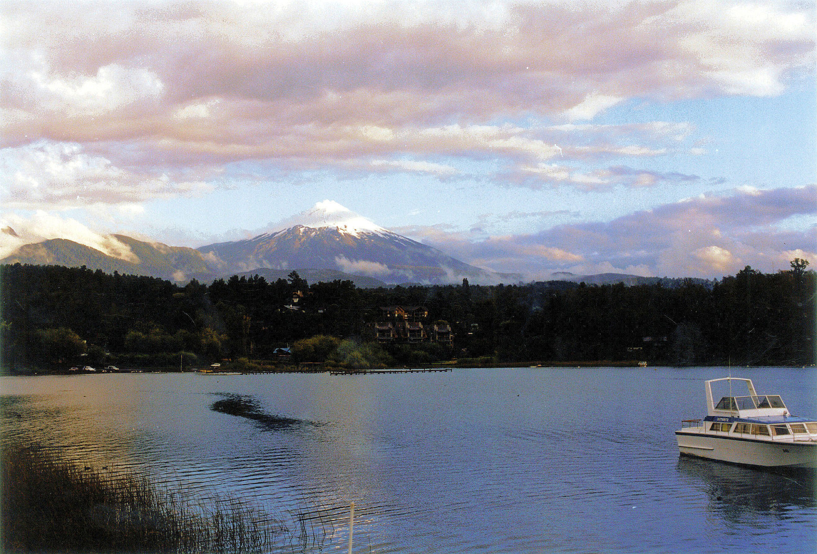 Mount Villarrica's snow-capped peak hints at the ski season to come