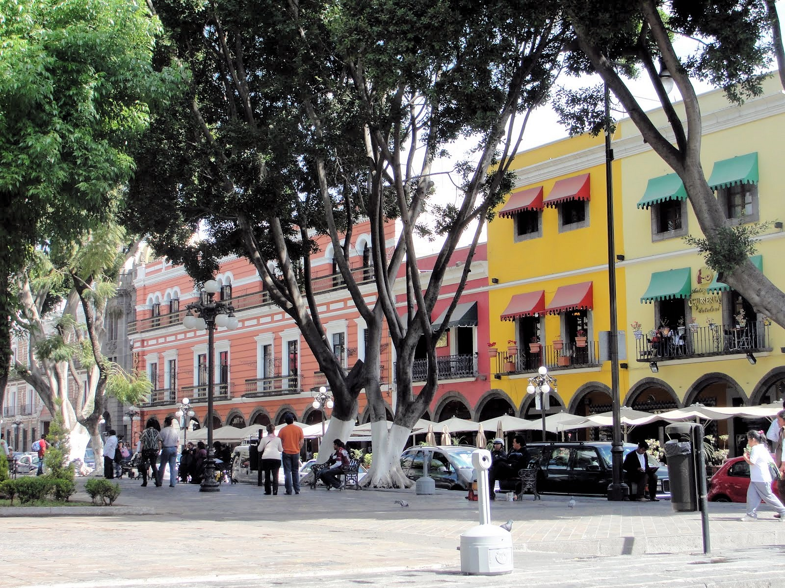 Puebla's large zócalo is lined with sidewalk cafés