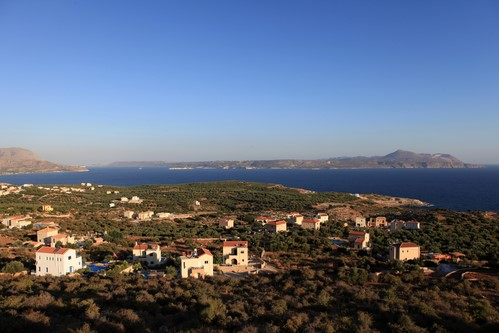 A typical view of the Akrotiri Peninsula's landscape and villas