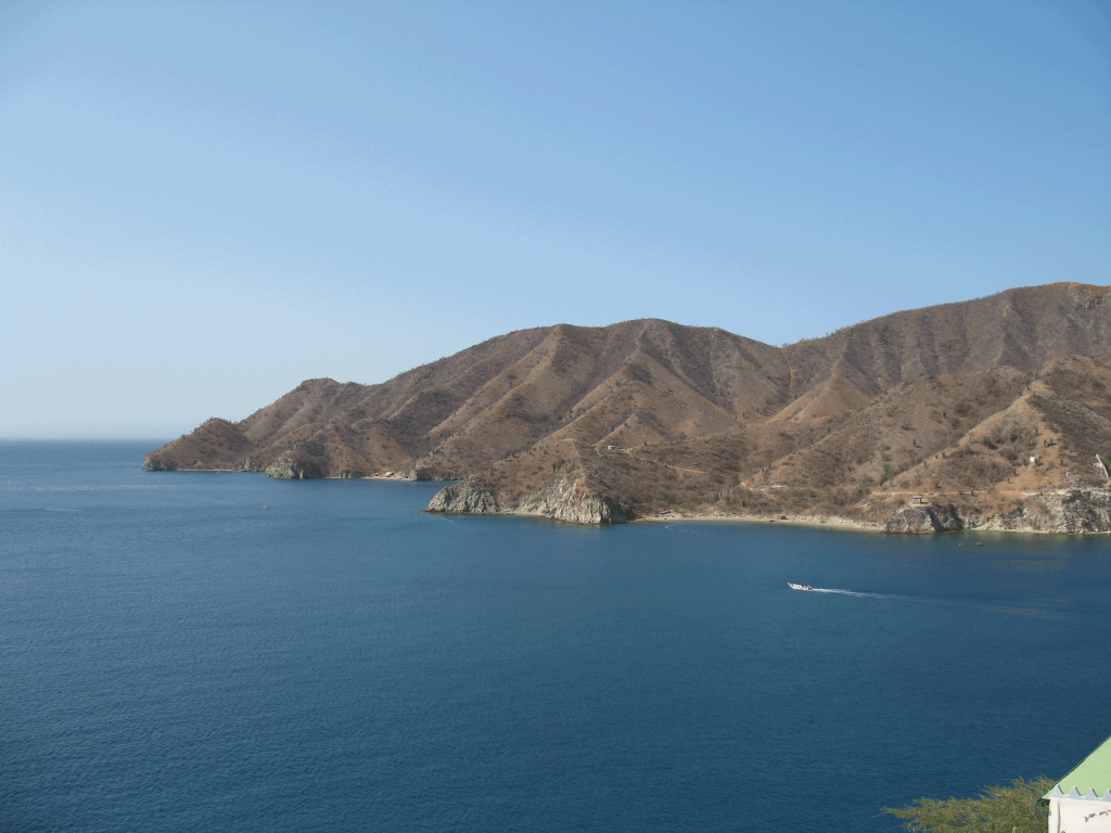 The bay at Santa Marta's Taganga attracts divers, swimmers, and beachgoers