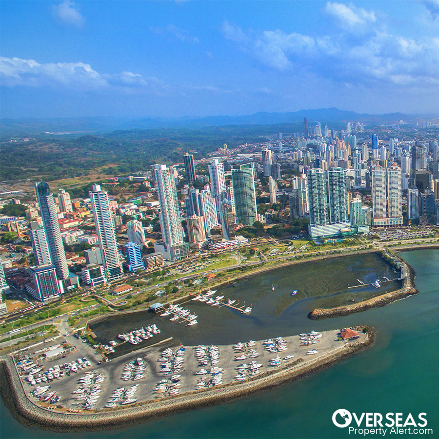 Aerial View of Panama City, on the Calidonia area.