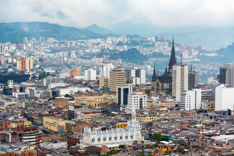 View of downtown Manizales, Colombia