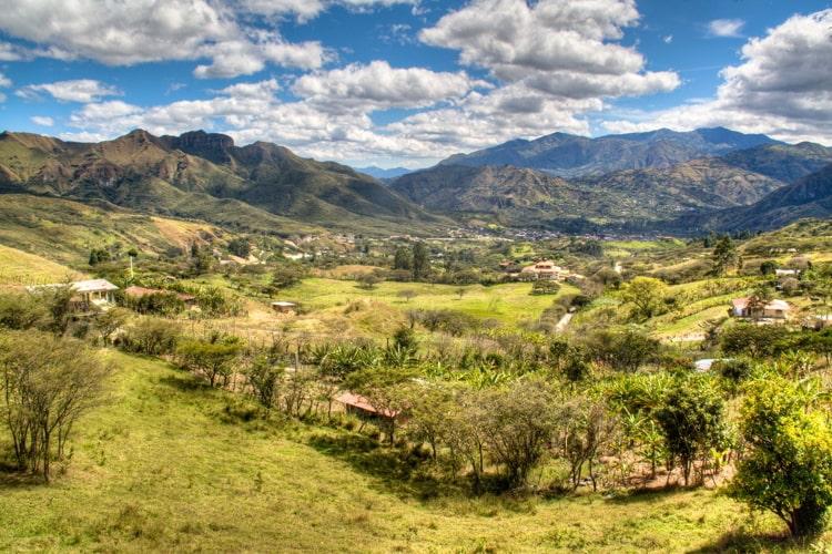 View over the valley of Vilcabamba in Ecuador