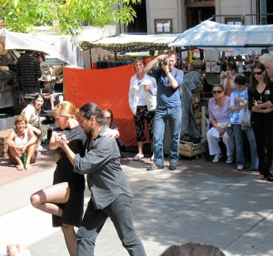 Tango dancers on the street remind you you're in Buenos Aires