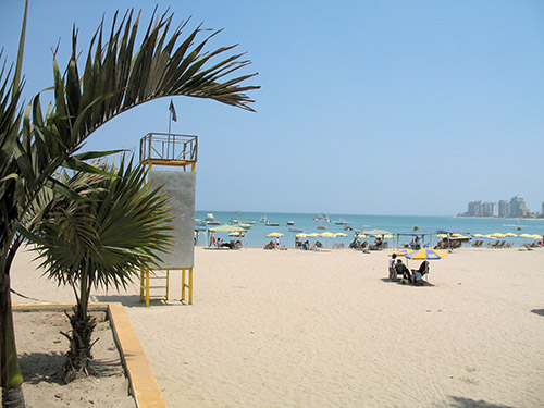 Viewed from the beach at Chipipe, you can see the high rises at the other end of the cove