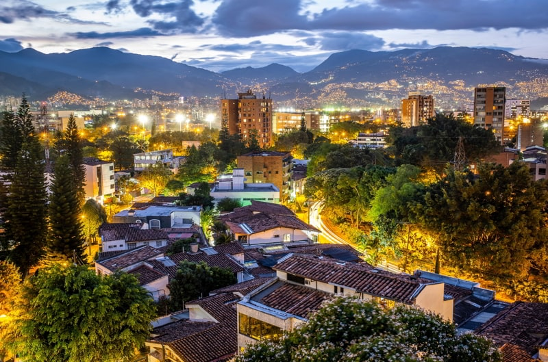 Skiline of El Poblado, Medellín, Colombia