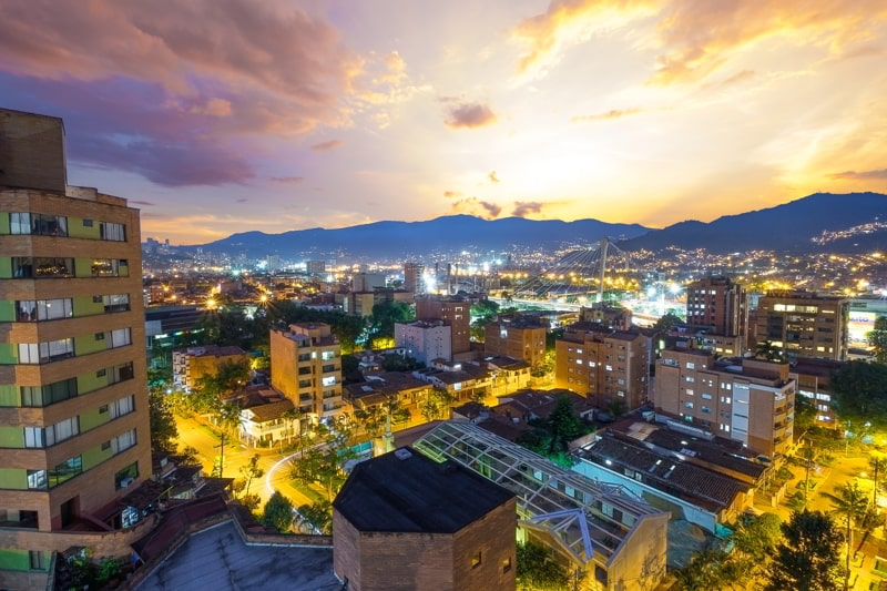 Sunset in Envigado, near Medellin Colombia