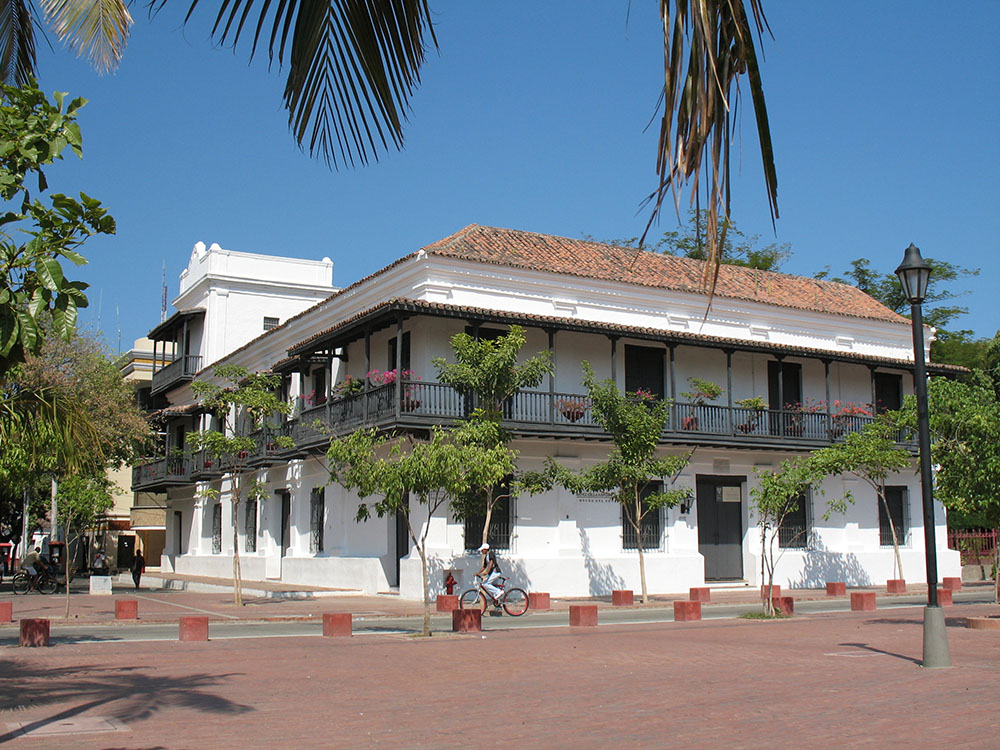 Santa Marta's first building with its colonial architecture and wrought iron balcony