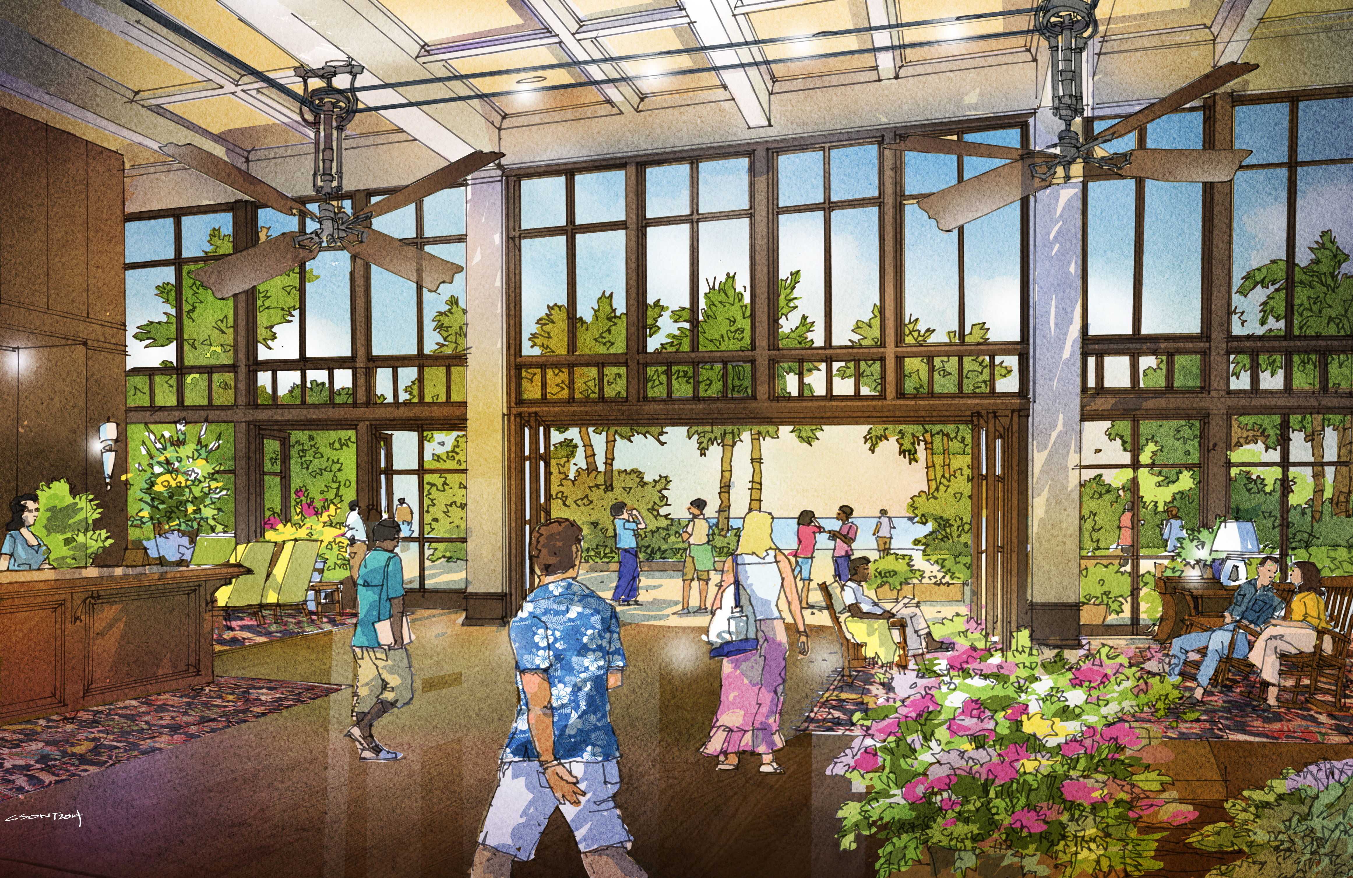 An illustration of a housing complex lobby with wood paneling and large windows, flowers and people