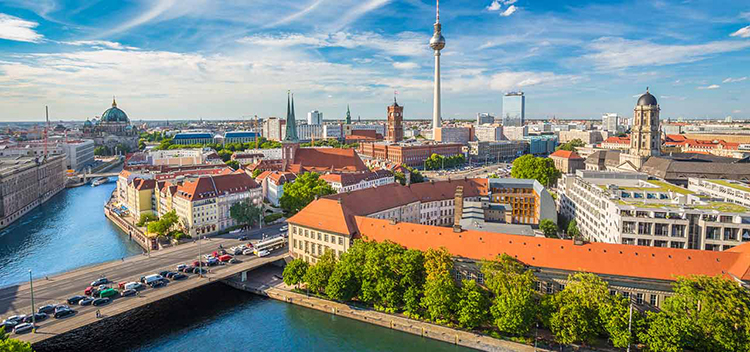 aerial view of bridge leading in to Berlin near the Fernsehturm