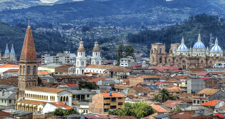 the rooftops of the colonial style city of cuenca