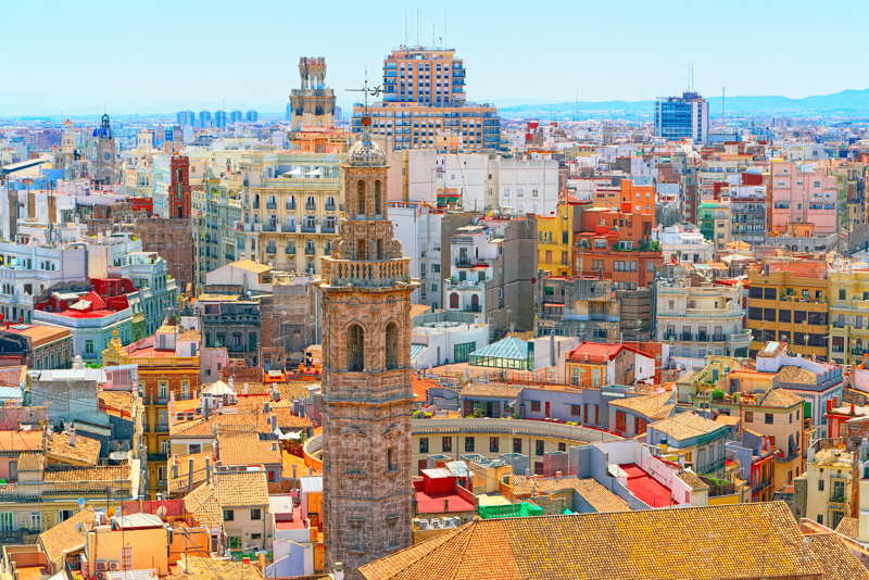 valencia spain colorful city skyline