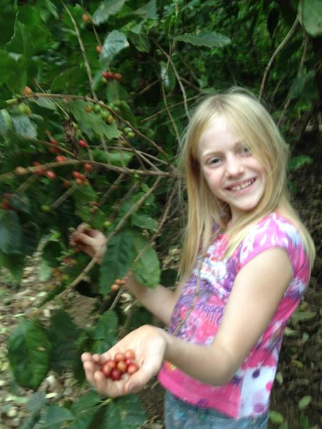 girl holds edible coffee beans