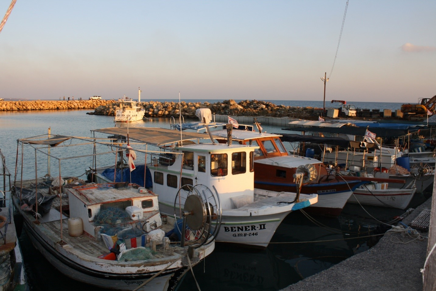 Fishing boats lining the docks in Bogaz Harbour