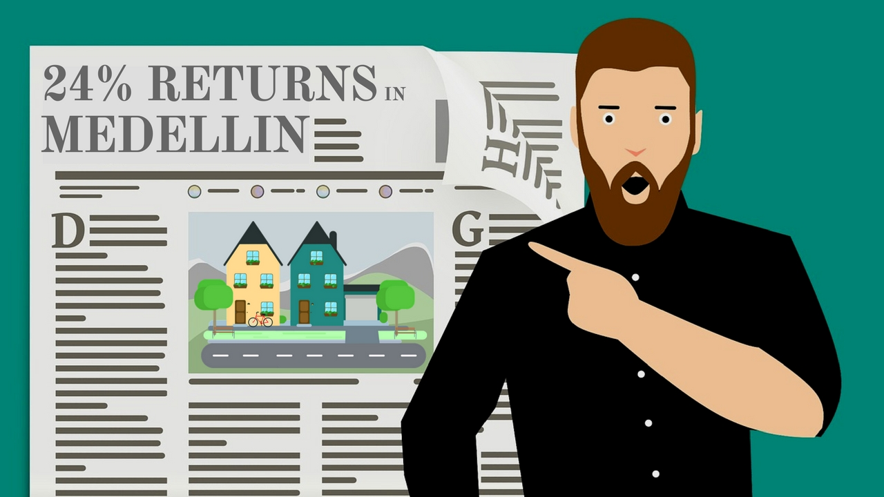 cartoon man with a beard pointing to a newspaper headline about rental returns in medellin