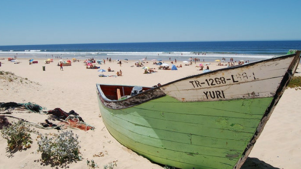 Boat On Beach Near Lisbon