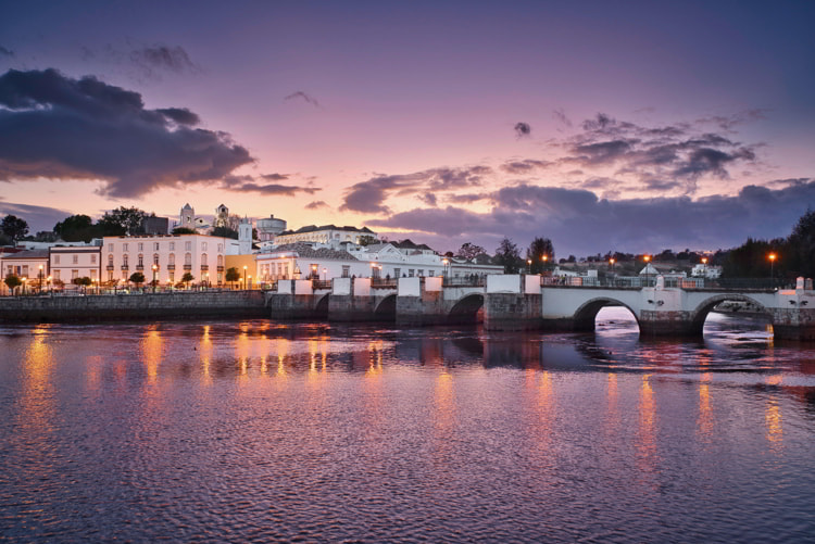 Tavira town in Portugal at the sunset time