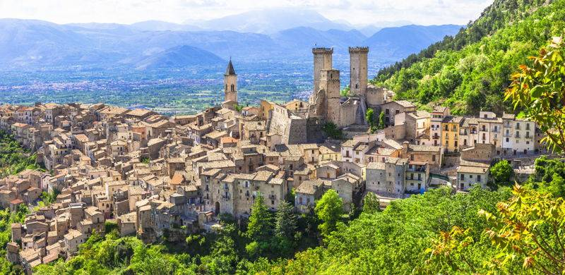 aerial view of abruzzo, italy town sorrounded by green foliage