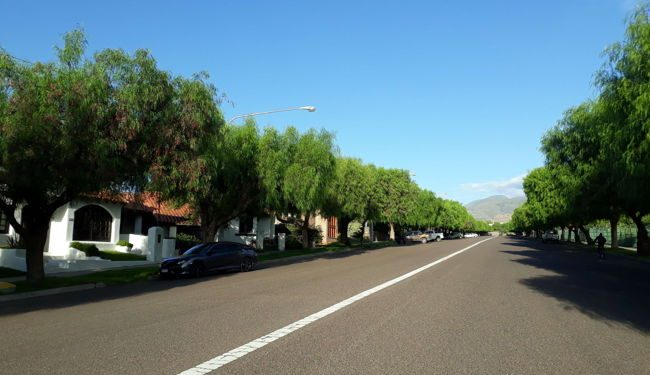 A wide and quiet street in Delvian, Argentina