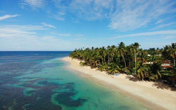 View of a quiet beach in Las Terrenas taken from the air