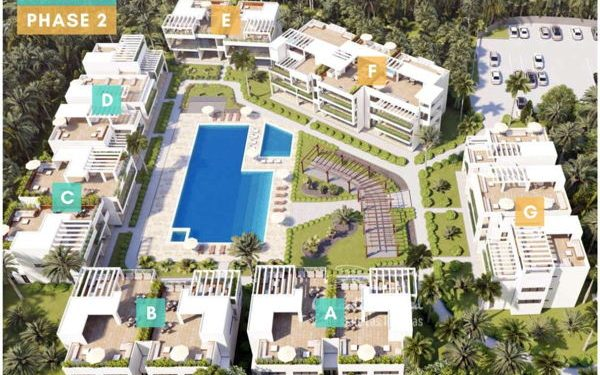 Birds eye view of planned pre-construction housing in Las Terrenas