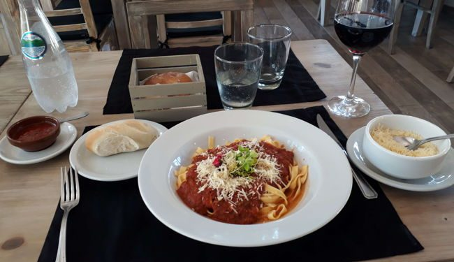 A plate of pasta at a restaurant in Mendoza, Argentina
