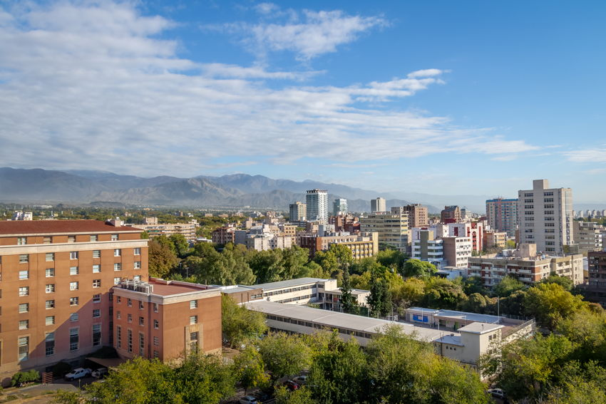 View across the city of Mendoza, Argentina. Mountains in the background.