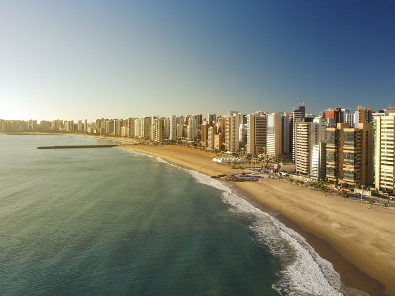 Aerial view of Fortaleza beach front and city