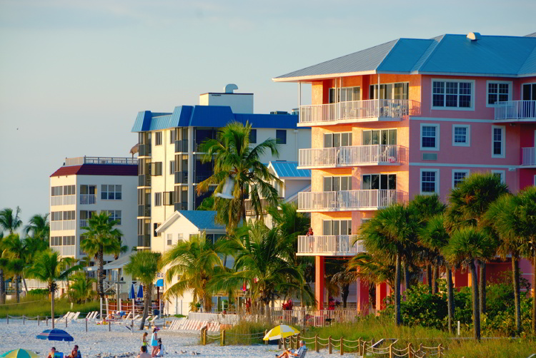 Pink, blue and white condo at the beach