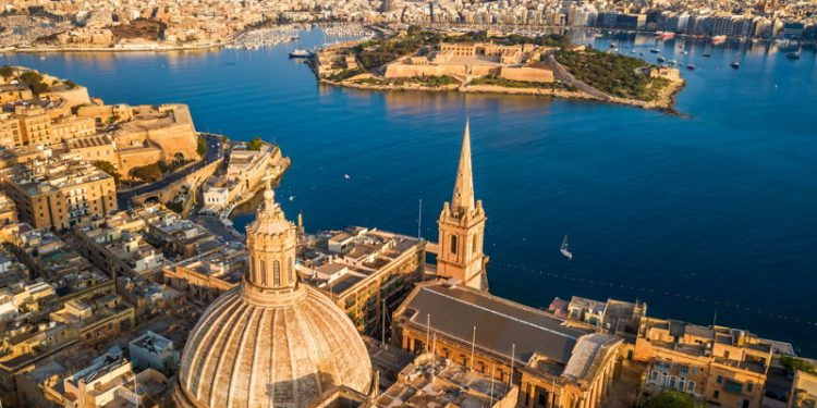 valetta in malta aerial view