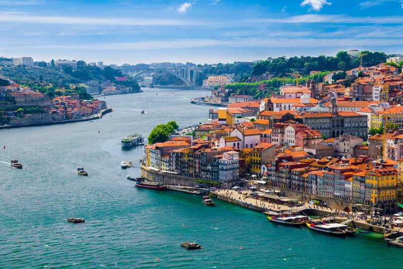 porto, portugal river on a sunny day