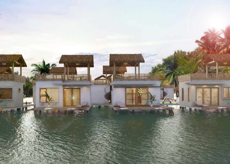 Front view of bungalows on water