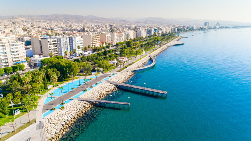 Aerial view of Molos Promenade park on the coast of Limassol city centre in Cyprus.