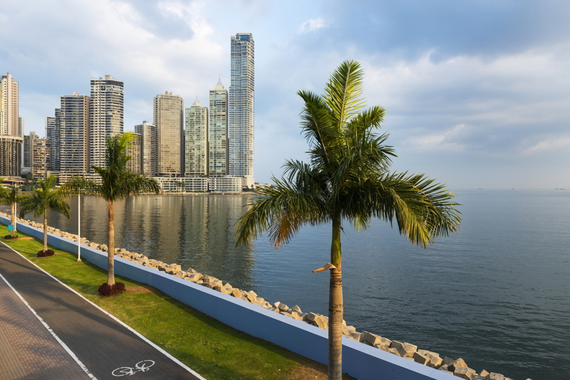 View of the financial district in downtown City of Panama, Panama.