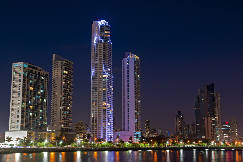 Skyline of Panama City, Panama at night.