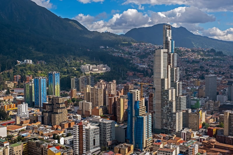 Skyline of downtown Bogota, Colombia.