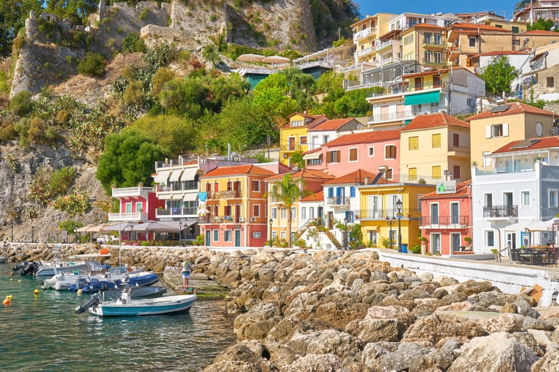 Colorful houses at Parga resort, Greece.